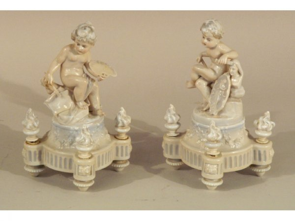 1212: Pair of French porcelain figurines, Sampson, 19th