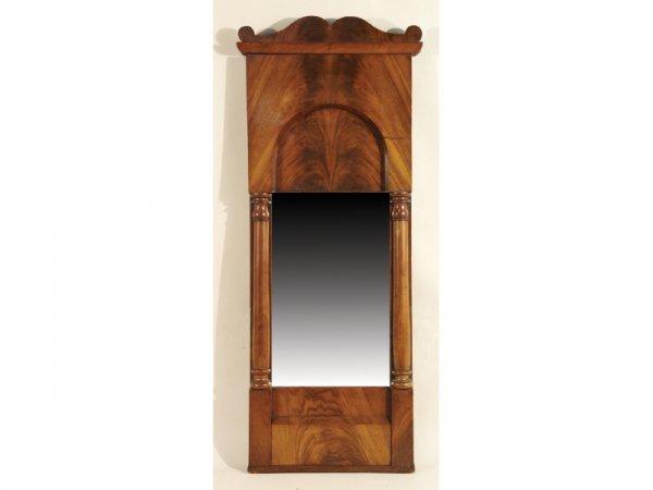 """1215: Biedermeier walnut mirror and columns,  37""""Hx 15"""""""