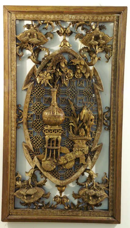 """1217: Chinoiserie carved wall panel,  29"""" wide x 52"""" hi"""