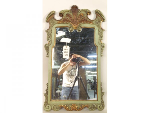 1220: Green polychrome wood carved mirror, c. 1900.