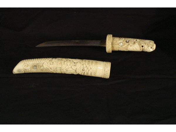 """1225: Chinese carved ivory knife and sheeth.  14"""" long"""