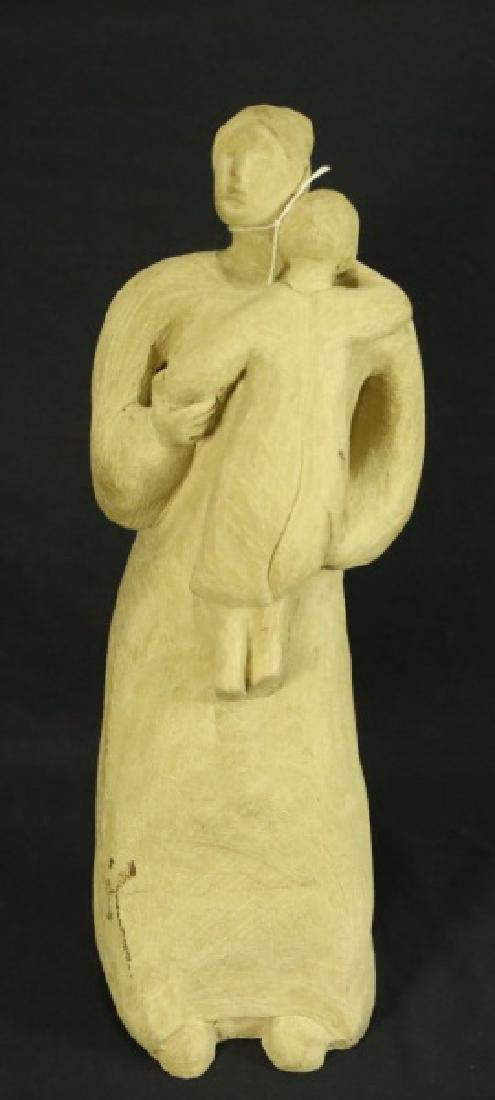 TERRACOTTA SCULPTURE OF MOTHER AND CHILD, 1982