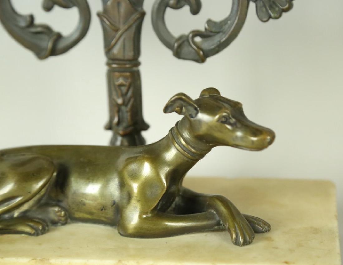 PAIR OF GILT BRONZE DOG MOTIF CANDELABRA - 6