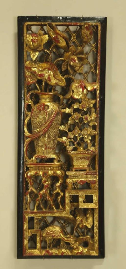 NTIQUE CHINESE CARVED & GILDED  WALL ELEMENT