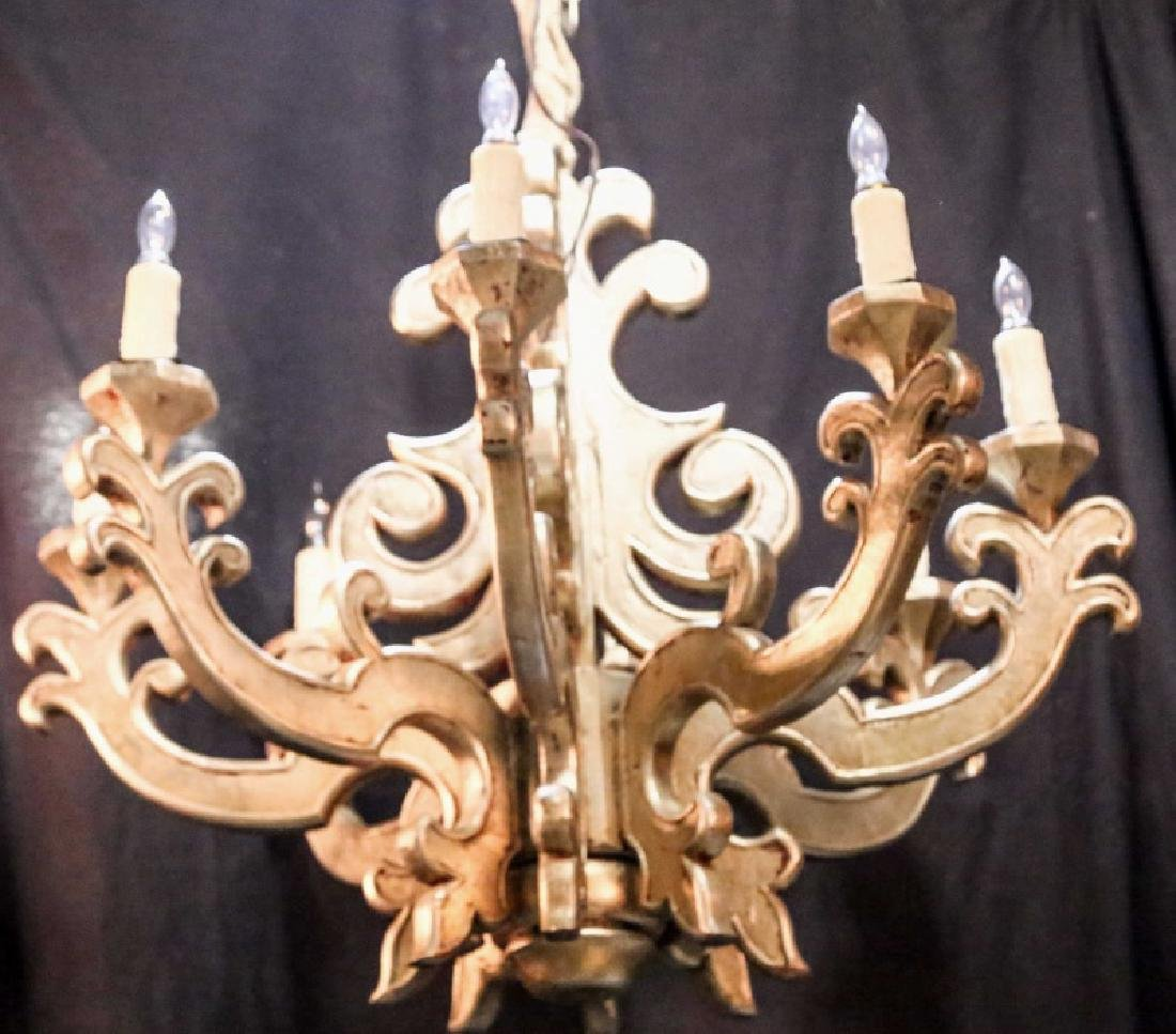 CARVED & SILVERLEAFED EIGHT-LIGHT CHANDELIER