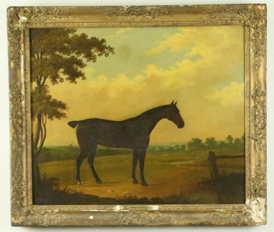 19th CENTURY PAULUS POTTER HORSE OIL ON CANVAS - 2