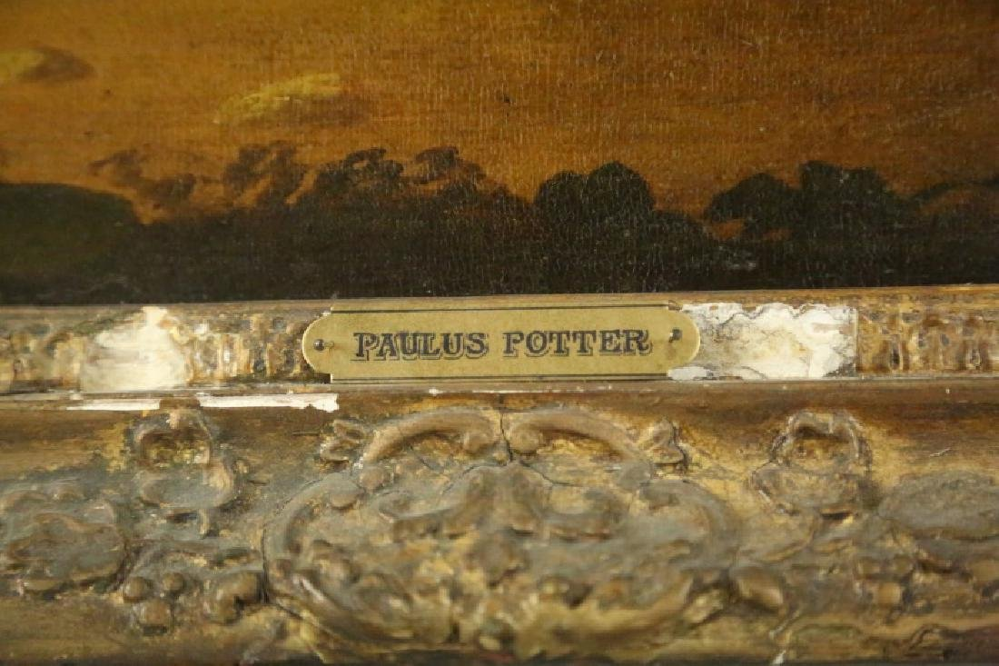19th CENTURY PAULUS POTTER HORSE OIL ON CANVAS - 6