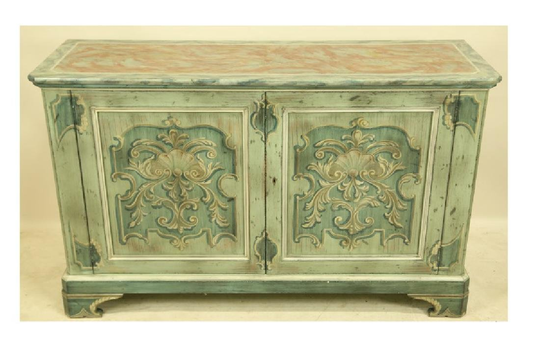 BAKER FAUX MARBLE PAINTED SIDEBOARD