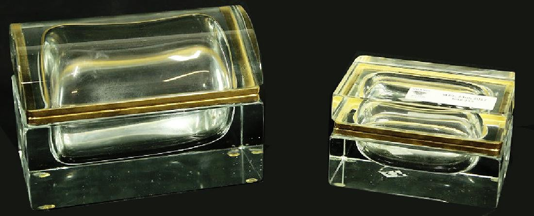 PAIR OF CUT GLASS FRENCH CIGARETTE & CIGAR BOXES