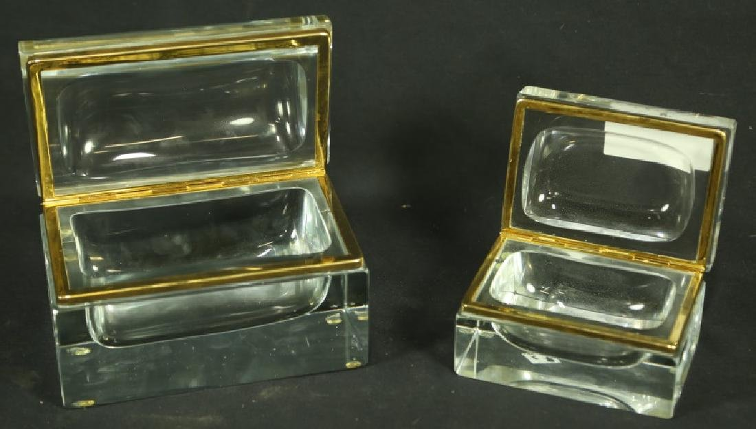 PAIR OF CUT GLASS FRENCH CIGARETTE & CIGAR BOXES - 4