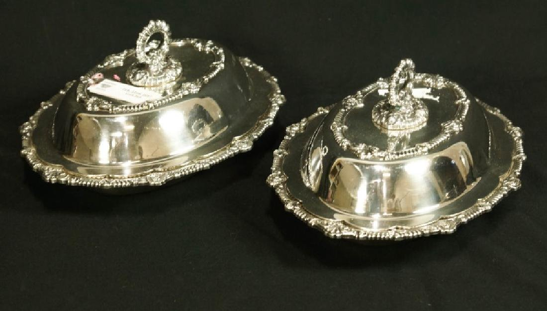 PAIR OF SILVERPLATED LIDDED SERVING DISHES