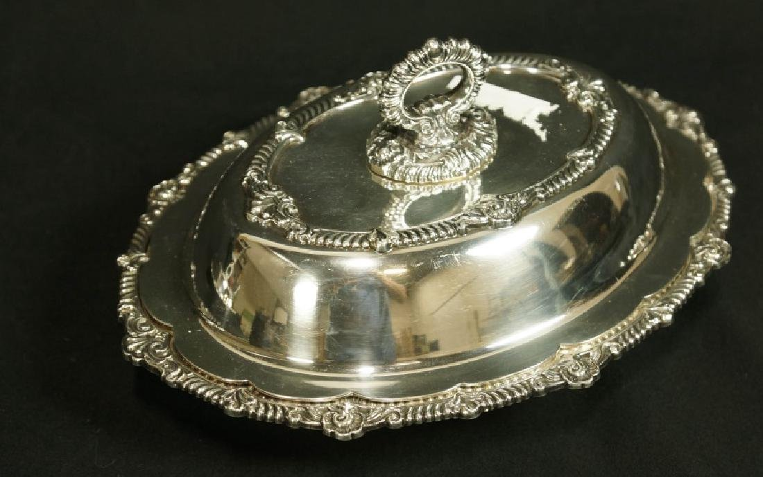 PAIR OF SILVERPLATED LIDDED SERVING DISHES - 2