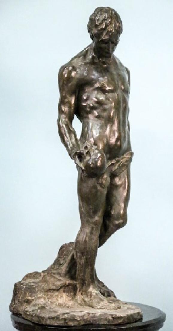 "ALFREDO PINA (1883-1966) ""MAN ON ROCK"" BRONZE"