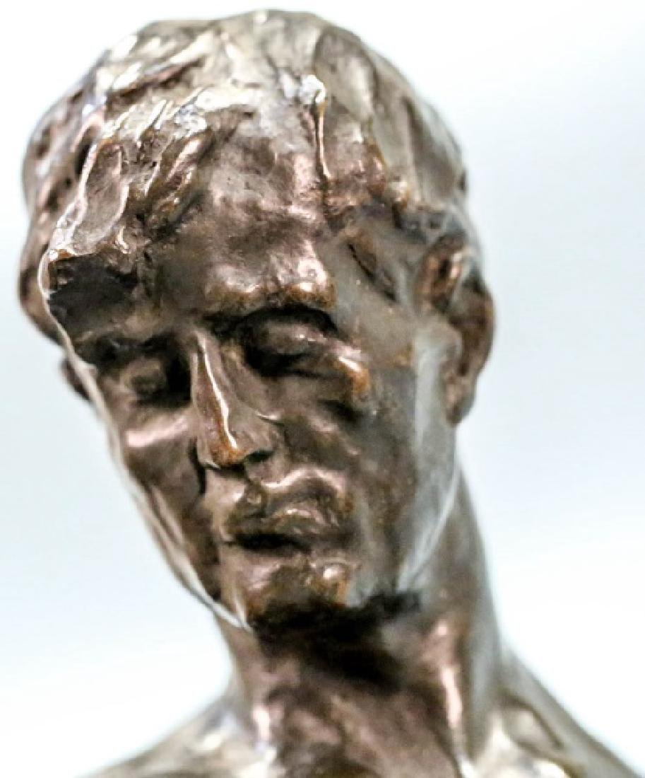 "ALFREDO PINA (1883-1966) ""MAN ON ROCK"" BRONZE - 6"