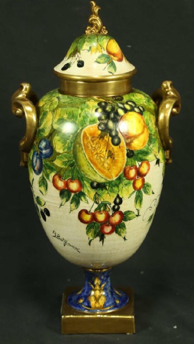 PAIR OF HAND PAINTED CERAMIC LIDDED URNS - 2