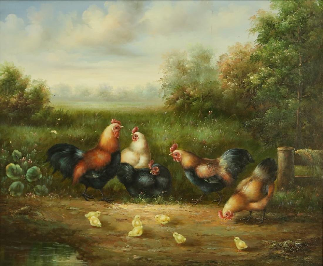 CHICKEN ROOSTING PAINTING
