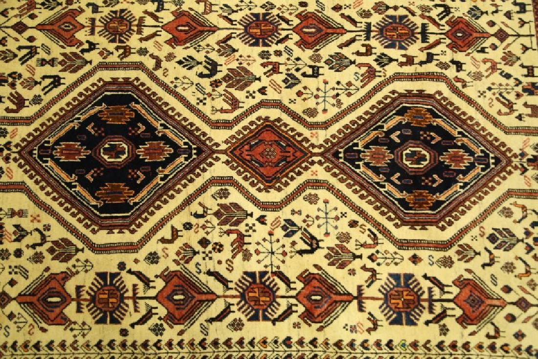 ANTIQUE HAND KNOTTED PERSIAN QASHQAI RUG - 2