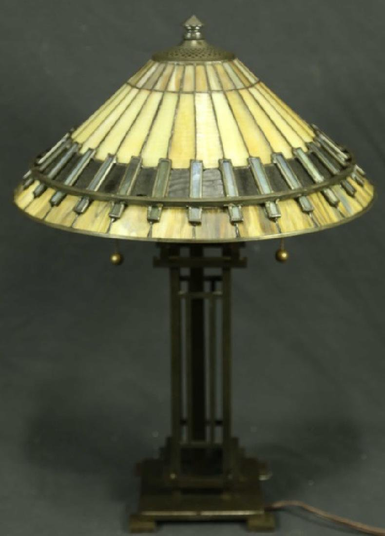 QUO ZEL ARTS & CRAFTS STYLE BRONZE BASE LAMP