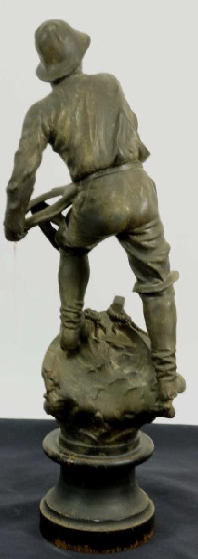 PATINATED BRONZE ON SPELTER SAILOR SCULPTURE - 2