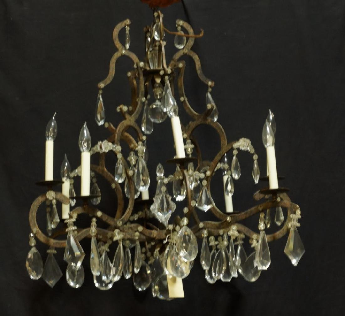 VINTAGE IRON & CRYSTAL CHANDELIER