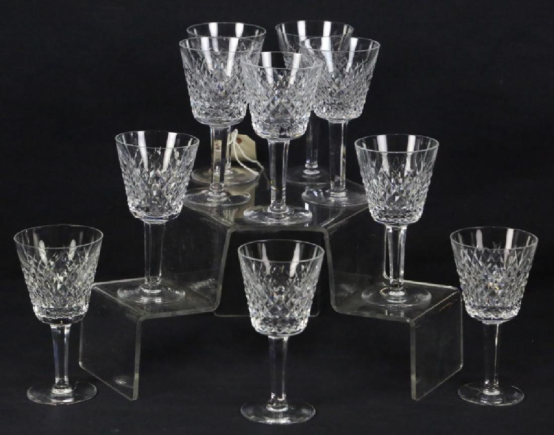 SET OF TEN WATERFORD CRYSTAL WINE GOBLETS