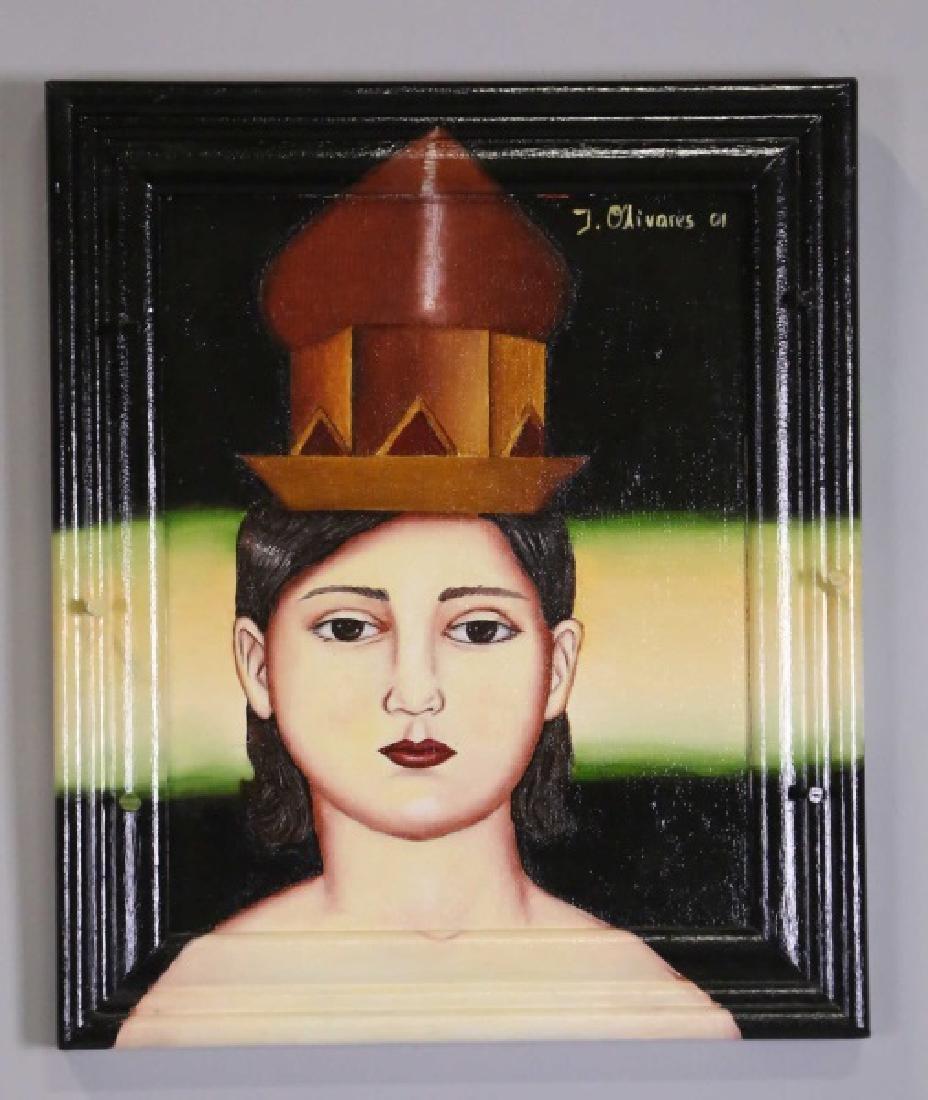 "IVETTE OLIVARES ""WOMAN AT NIGHT"" OIL ON CANVAS"
