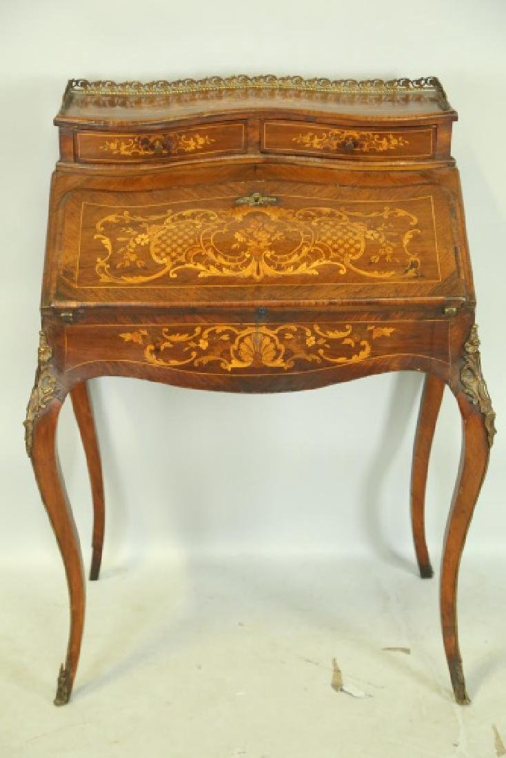 FRENCH 1880'S FALL FRONT INLAID DESK - 2
