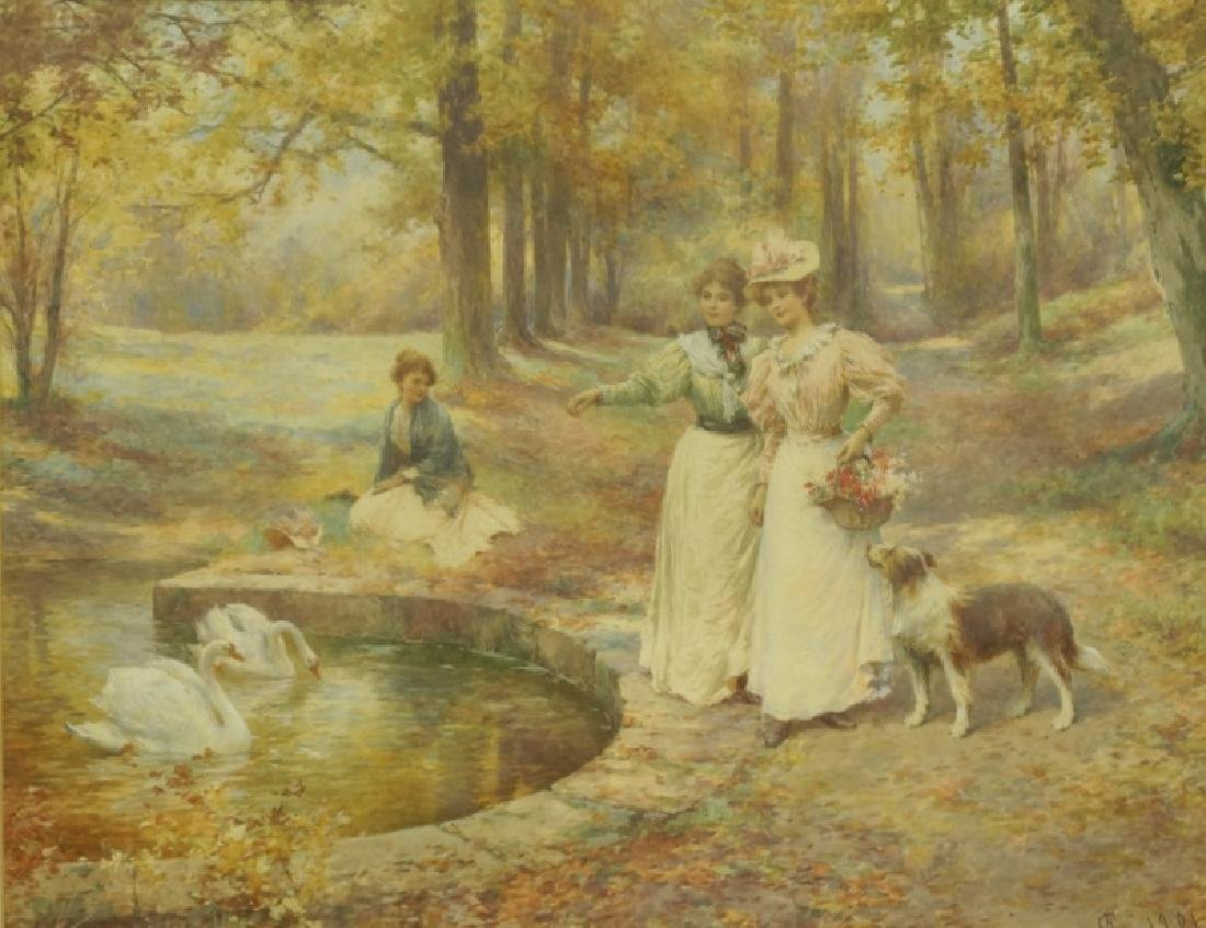 "ALFRED GLENDENING JR. ""SWAN POND"" WATERCOLOR"