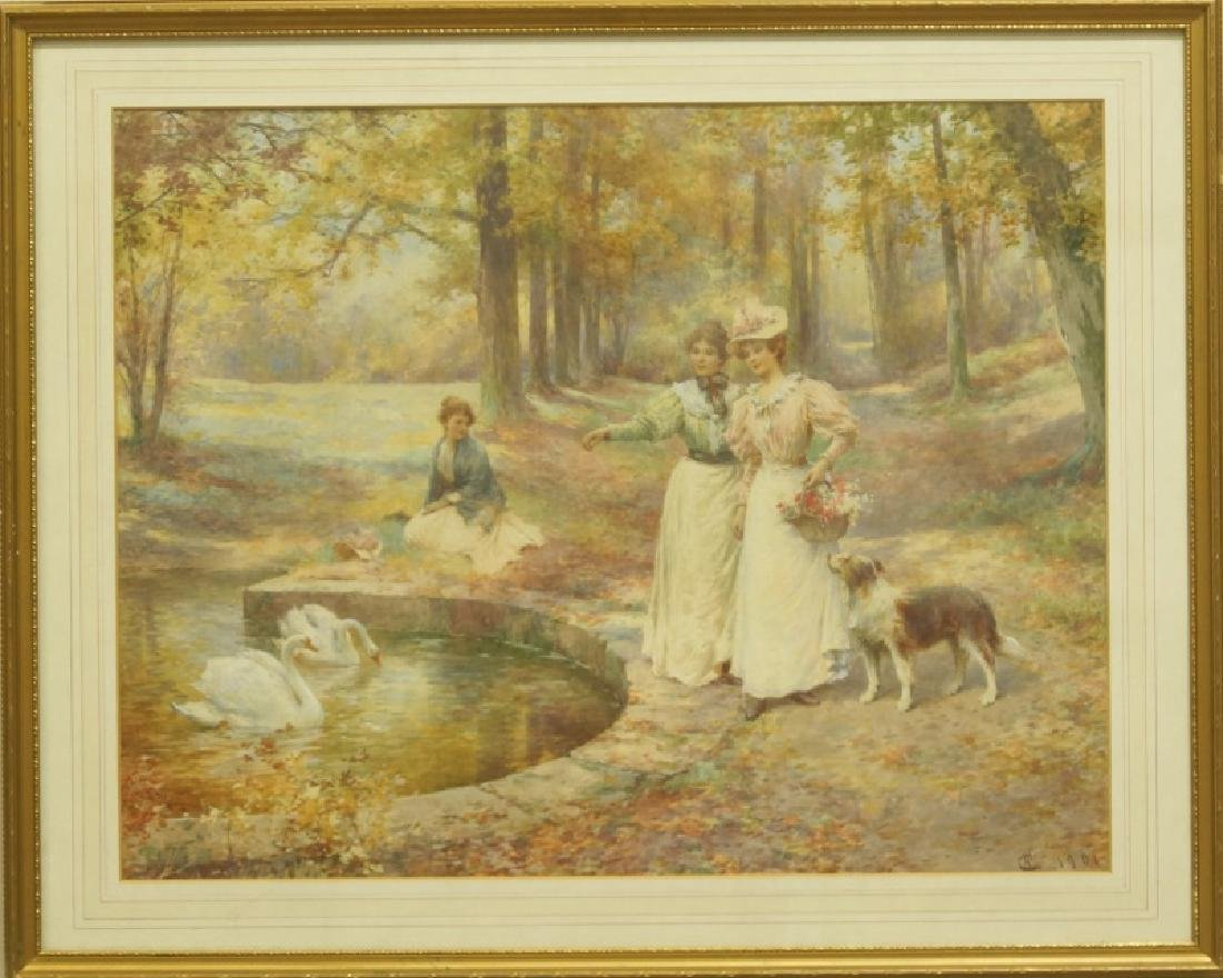 "ALFRED GLENDENING JR. ""SWAN POND"" WATERCOLOR - 2"