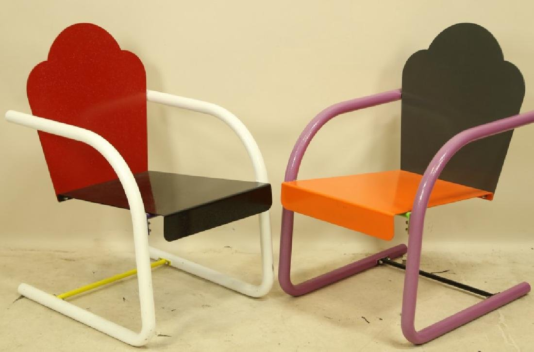 PAIR OF PETER SHIRE PAINTED METAL CHAIRS