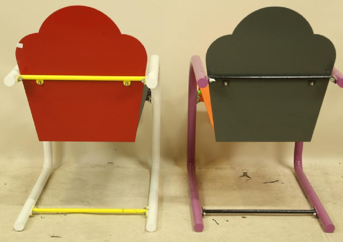 PAIR OF PETER SHIRE PAINTED METAL CHAIRS - 2