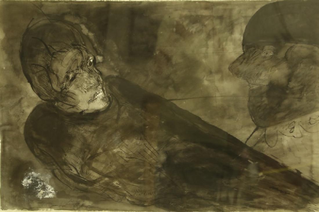 """JOSE LUIS CUEVAS """"CADAVER Y PAYASO"""" INK WASH, 1973"""