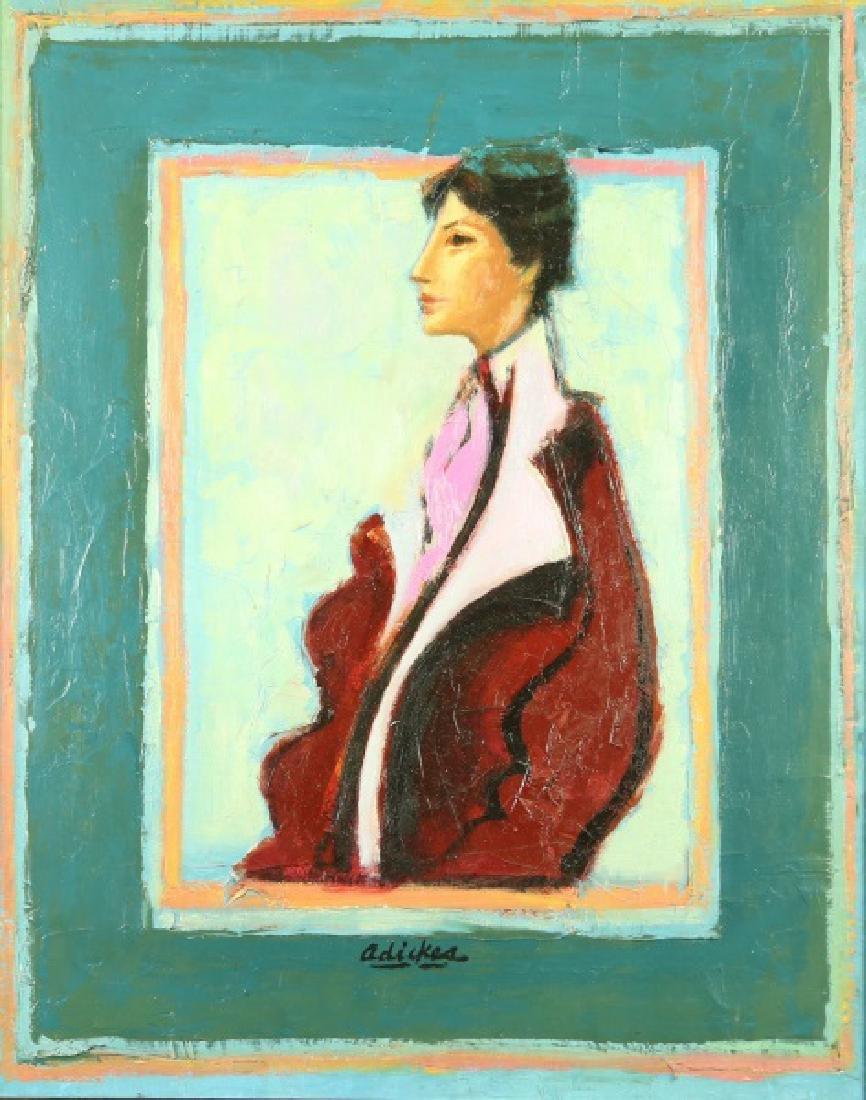 "DAVID ADICKES ""PORTRAIT OF A WOMAN"" OIL, 1960"