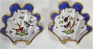HEREND ROTHSCHILD BIRD BLUE BORDER FLUTED DISHES