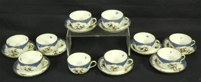 TEN HEREND ROTHSCHILD BIRD BLUE BORDER CUPS & SAUCERS