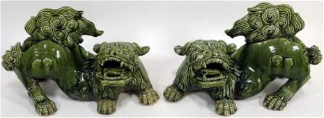 PAIR OF ANTIQUE CHINESE GLAZED STONEWARE FOO DOGS