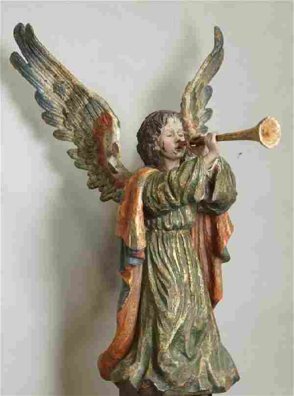 17th CENTURY WOOD CARVED SPANISH ANGEL WITH HORN