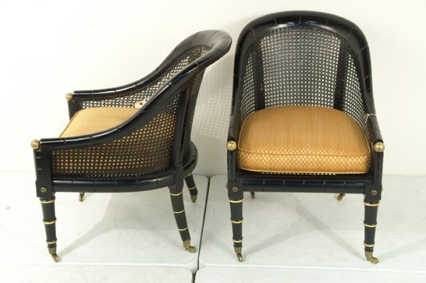 275: Pair Regency style black lacquer chair, cane back