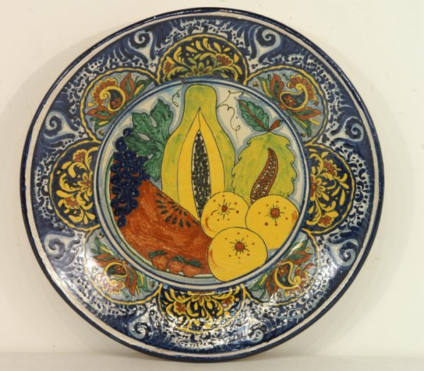 401: Large hand painted Mexican chargers with fruit, ve