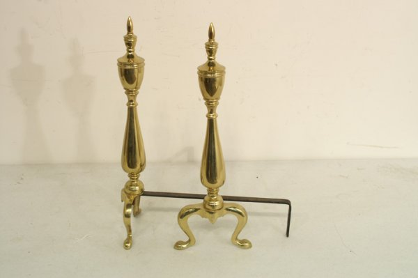 414: Pair of brass Andirons   8 x 21 h