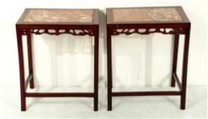 712 Pair of Chinese rosewood marble top side tables