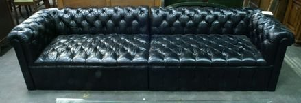 744: Black leather Chesterfield