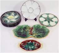 MIXED LOT OF NINE VINTAGE MAJOLICA PIECES