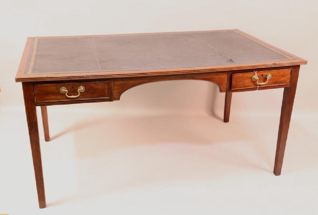 GEORGIAN MAHOGANY TOOLED & GILDED LEATHER TOP DESK