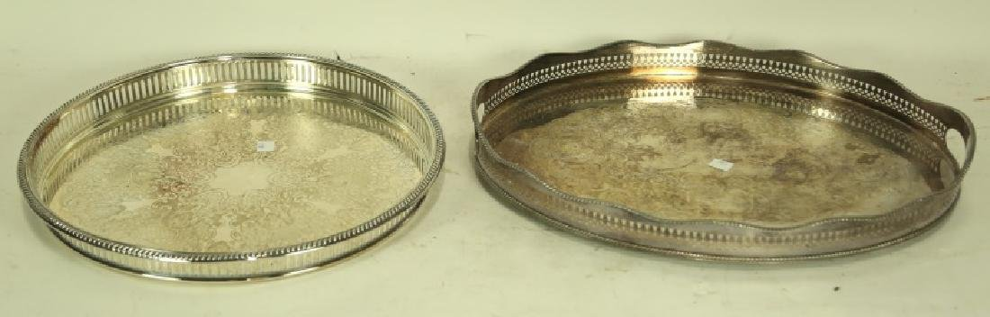 TWO SILVER PLATED GALLERY SERVING TRAYS