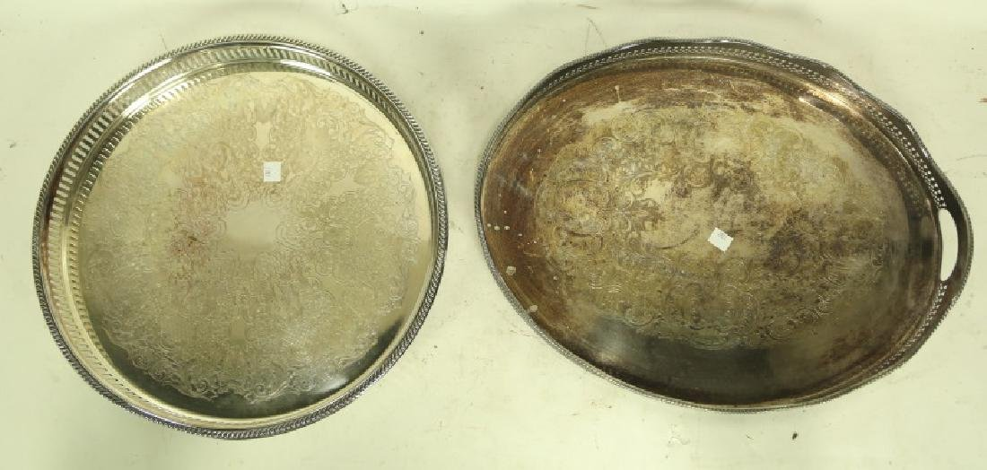 TWO SILVER PLATED GALLERY SERVING TRAYS - 2
