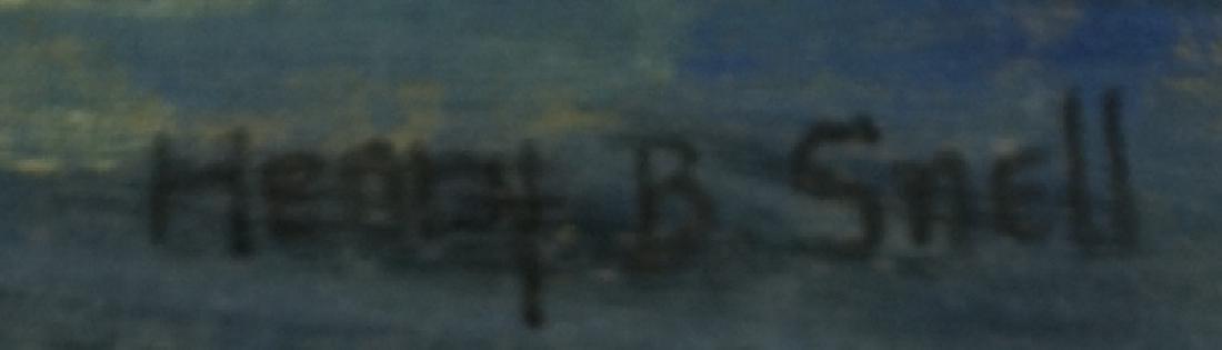 HENRY B. SNELL HARBOR SCENE OIL ON PANEL PAINTING - 4