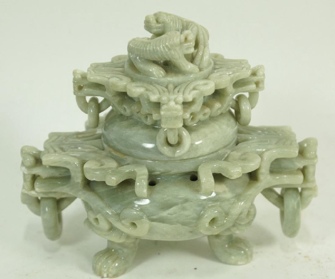 ANTIQUE CHINESE SOAP STONE LIDDED URN