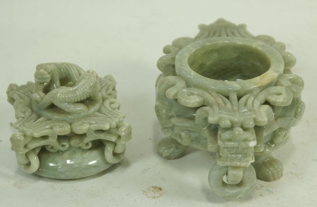 ANTIQUE CHINESE SOAP STONE LIDDED URN - 2