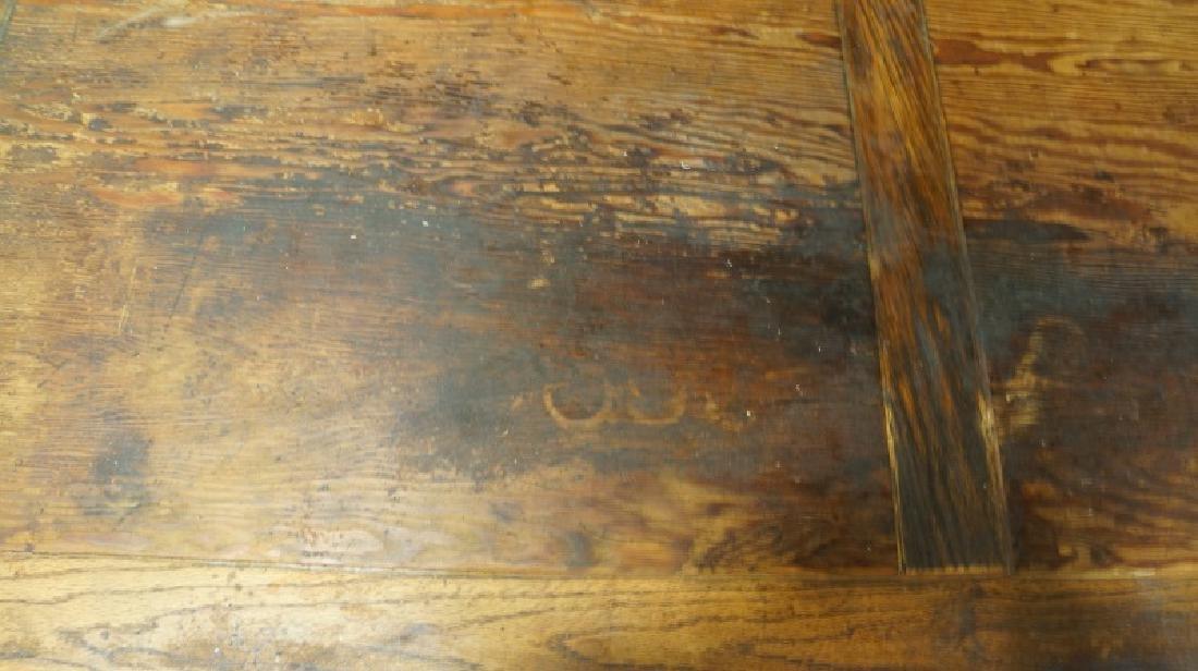 ANTIQUE SCRUB PINE & OAK TRESTLE BASE FARM TABLE - 4